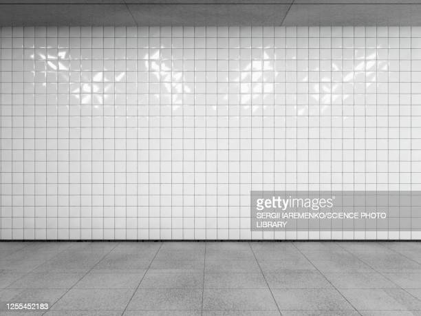 white tiled wall, illustration - underground rail stock illustrations