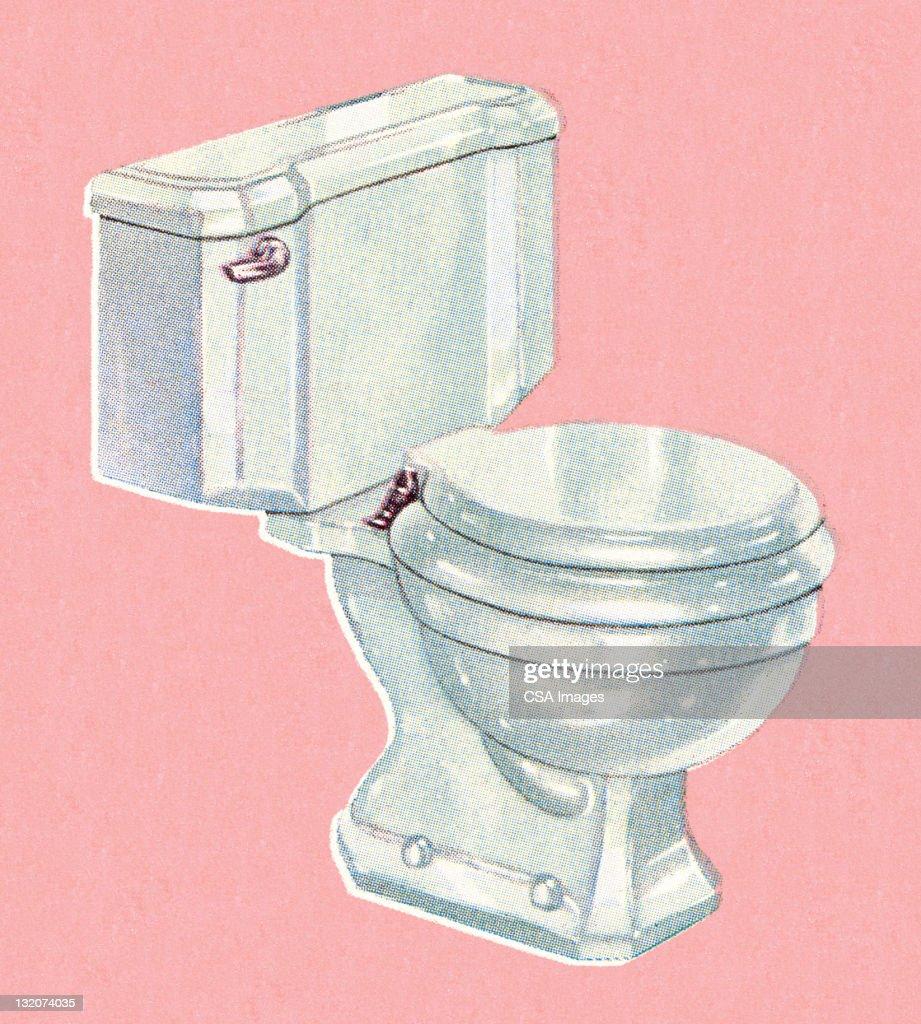 ホワイト toliet にピンクの背景 ストックイラストレーション getty images