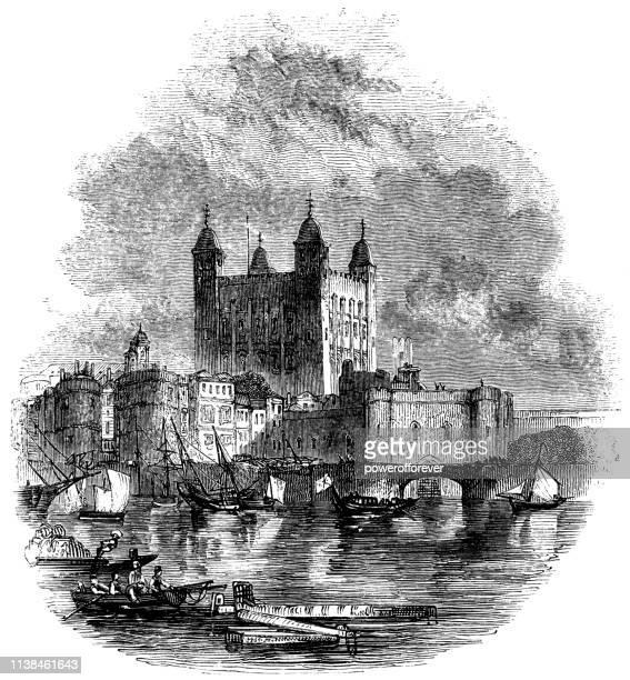 ロンドンの塔の白い塔、イングランド-16 世紀 - テムズ川点のイラスト素材/クリップアート素材/マンガ素材/アイコン素材