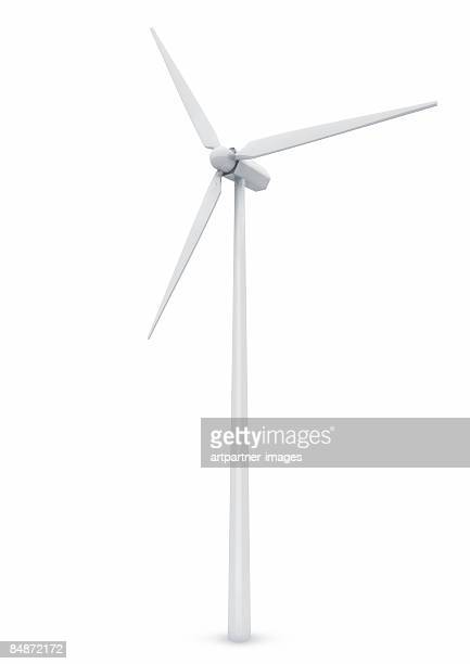 white wind turbine on white background