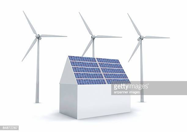 3 white wind turbines and a solar panel  - four objects stock illustrations