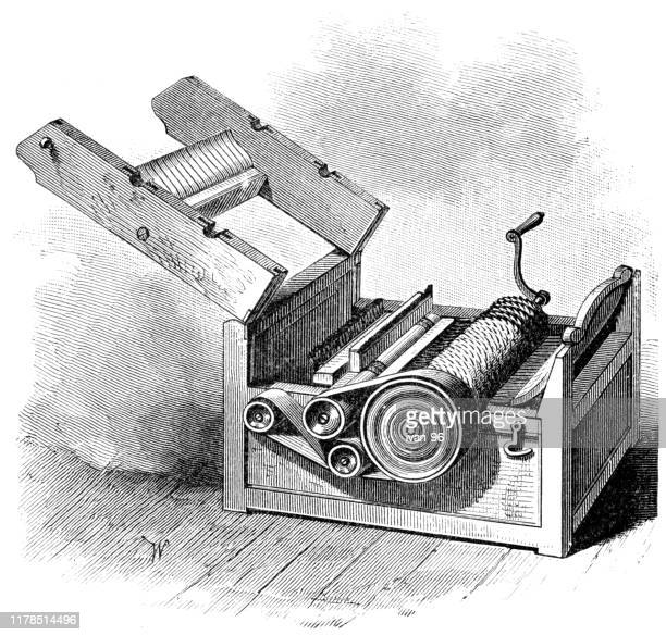 whitney`s cotton gin - eccentric stock illustrations