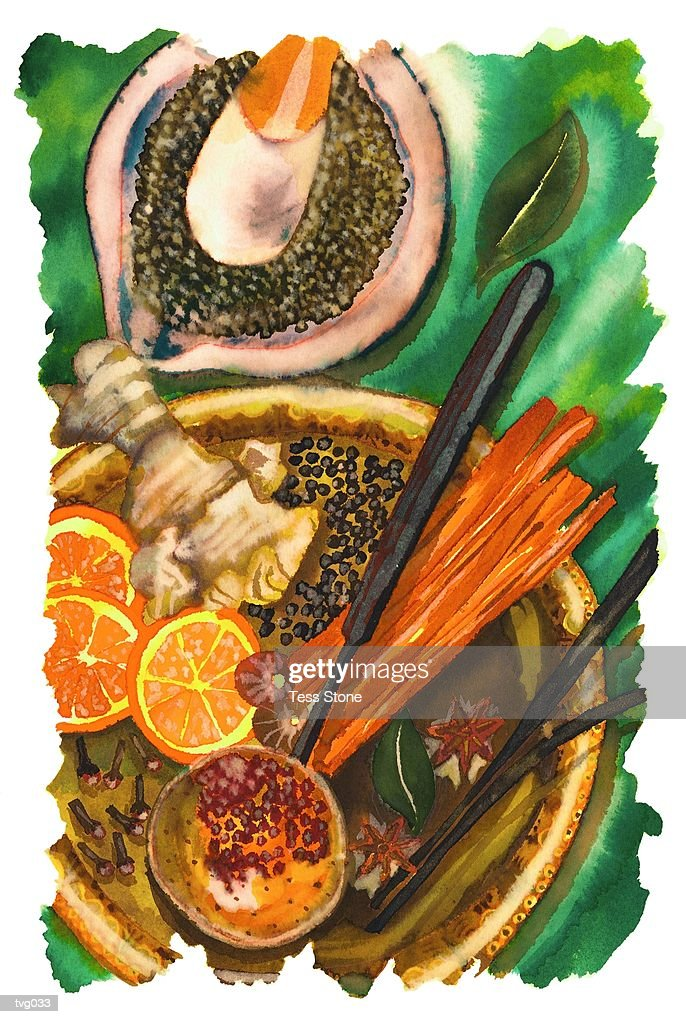 Whole Spices : Stockillustraties