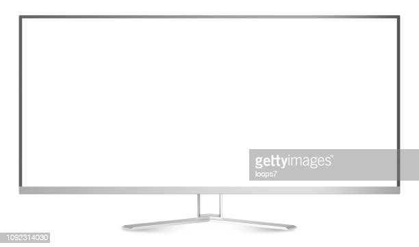 wide screen monitor isolated on white - wide screen stock illustrations