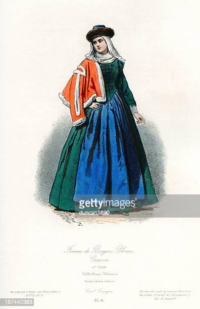 illustrazioni stock, clip art, cartoni animati e icone di tendenza di moglie di un look cittadino - xvii° secolo