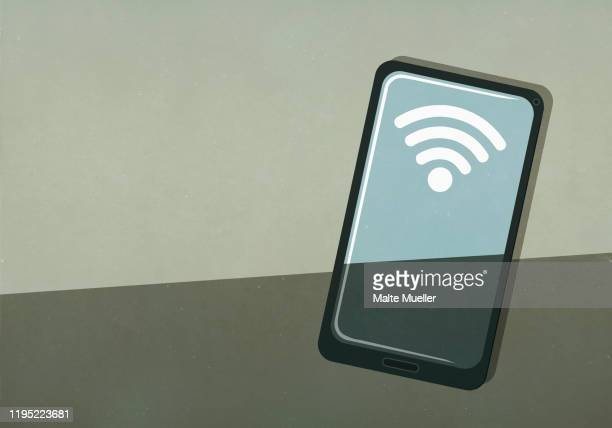 wifi signal on smart phone screen - wireless technology stock illustrations