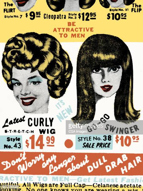 wig pattern - beauty stock illustrations