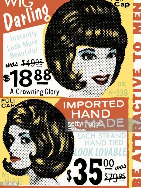 ilustrações, clipart, desenhos animados e ícones de wig pattern - artigo de vestuário para cabeça