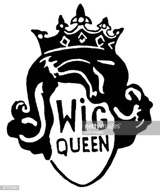 ilustraciones, imágenes clip art, dibujos animados e iconos de stock de wig queen - reina de belleza