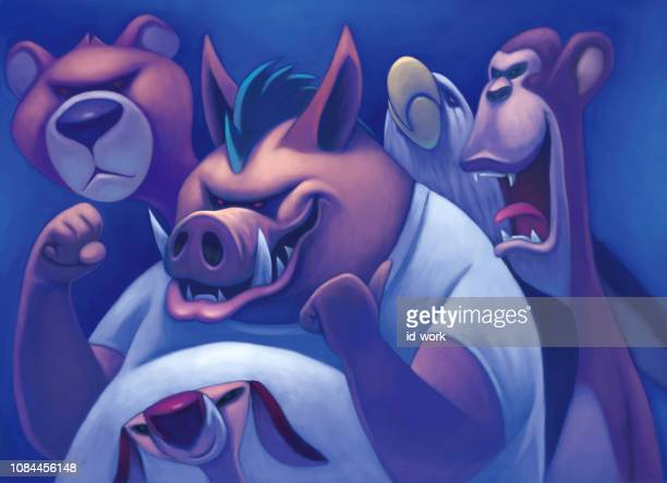 wild boar and friends gathering - infamous stock illustrations, clip art, cartoons, & icons