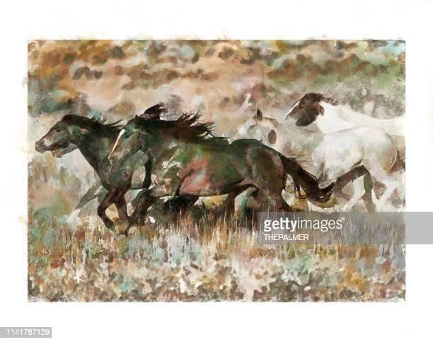 wild horses - mixed digital technique - animals in the wild stock illustrations