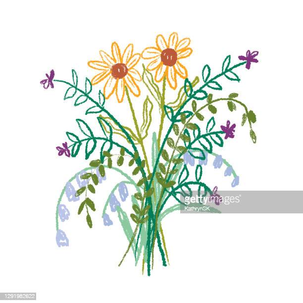 wildflower bouquet drawing - kathrynsk stock illustrations