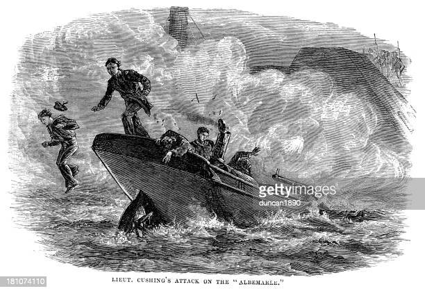 william b. cushing attack on the albemarle - us navy stock illustrations