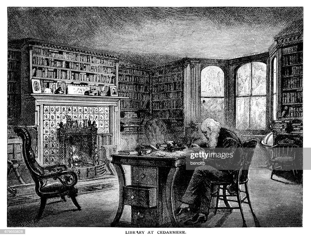 William Cullen Bryant in his library : stock illustration