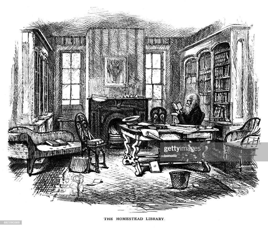William Cullen Bryant reading in his Library : stock illustration