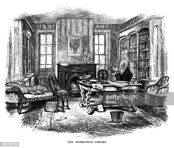 William Cullen Bryant reading in his Library