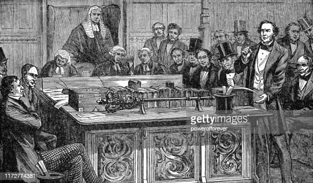 ウィリアム・エワート・グラッドストーン 1852年から19世紀のベンジャミン・ディズレーリの予算を討論 - セントラル・ロンドン点のイラスト素材/クリップアート素材/マンガ素材/アイコン素材