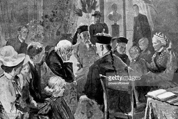 william ewart gladstone talking with li hongzhang in hawarden, wales - 19th century - diplomacy stock illustrations