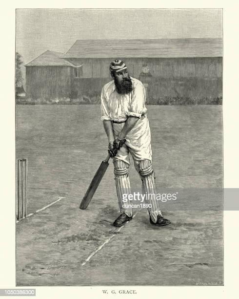 william gilbert w. g. grace, english cricketer 19th century - century cricket stock illustrations