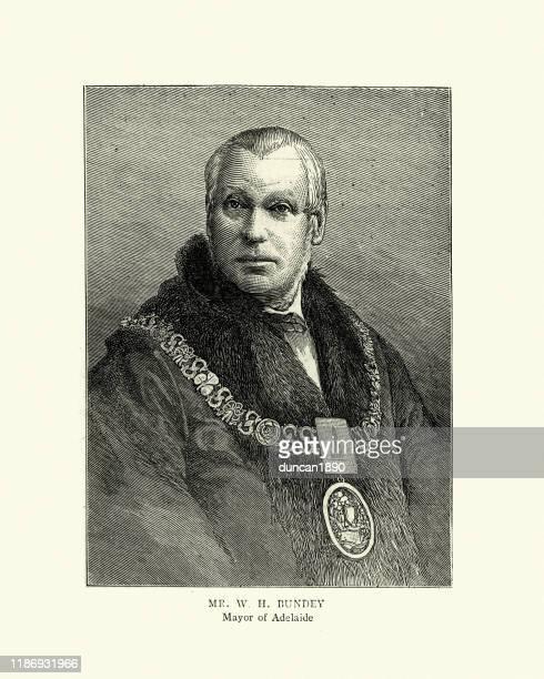 stockillustraties, clipart, cartoons en iconen met william henry bundey, majoor van adelaide, 19e eeuw - halsketting