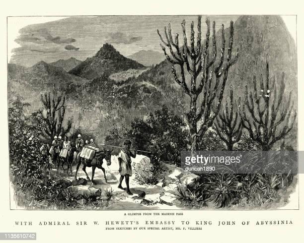 william hewett's embassy king john of abyssinia, maiensi pass 1884 - ethiopia stock illustrations, clip art, cartoons, & icons
