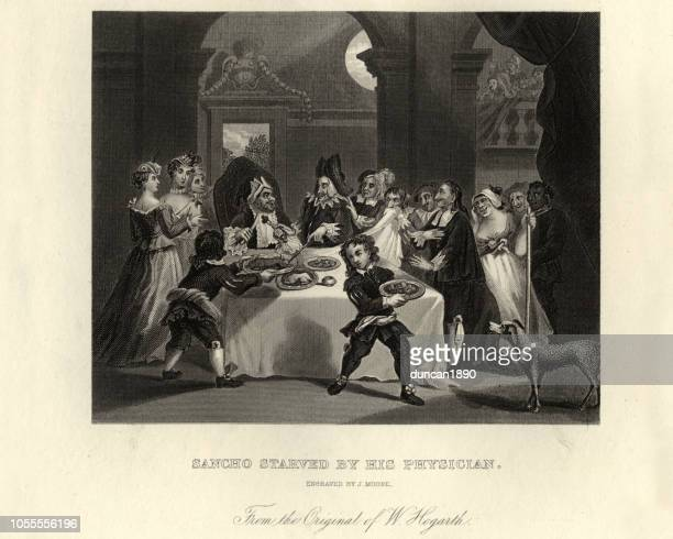 William Hogarth, Don Quixote,Sancho starved by his physician