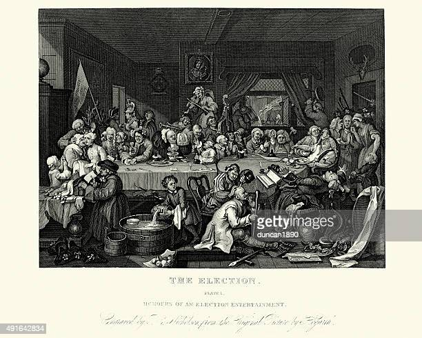 william hogarth four humours of an election - political party stock illustrations