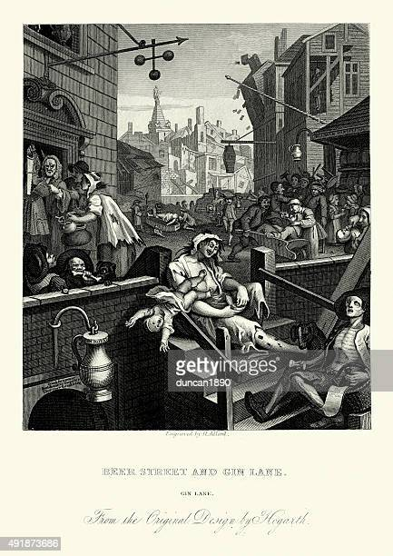 william hogarth gin lane - rotting stock illustrations, clip art, cartoons, & icons