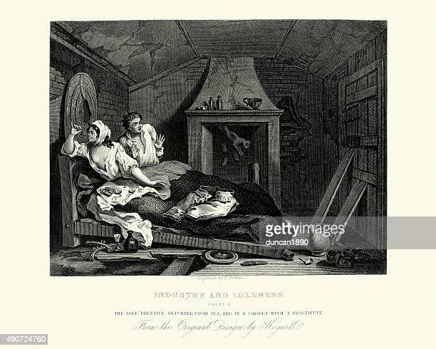 william hogarth industry and idleness idle prentice with common - sex and reproduction stock illustrations, clip art, cartoons, & icons