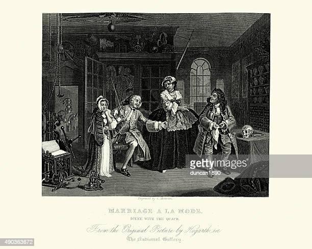 ilustraciones, imágenes clip art, dibujos animados e iconos de stock de william hogarth matrimonio un modo de la escena con el quack - sifilis