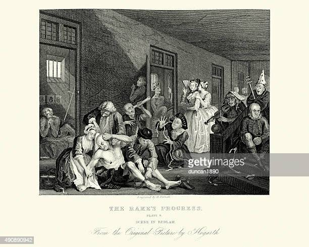William Hogarth The Rake's Progress - In Bedlam