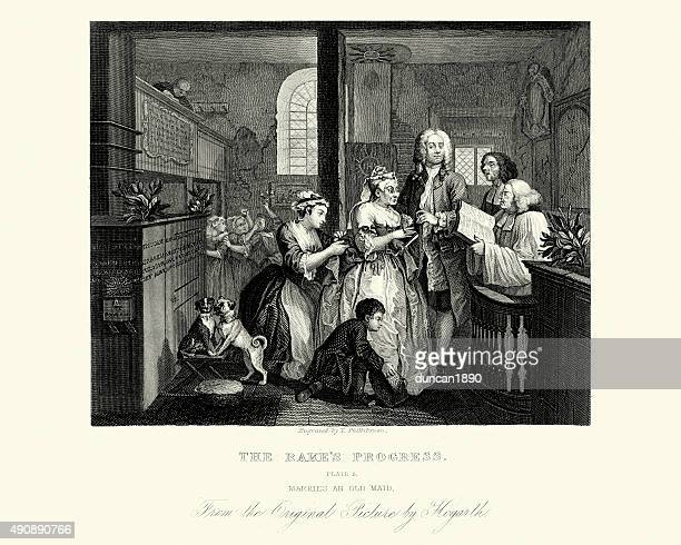 William Hogarth The Rake's Progress - Marries an old maid