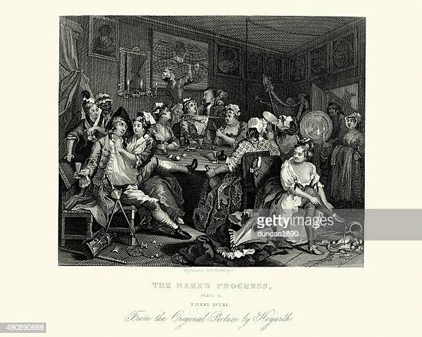 william hogarth the rake's progress - tavern scene - 18th century stock illustrations