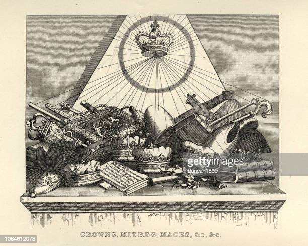 william hogarth's, crowns, mitres and maces, etc - religious dress stock illustrations, clip art, cartoons, & icons