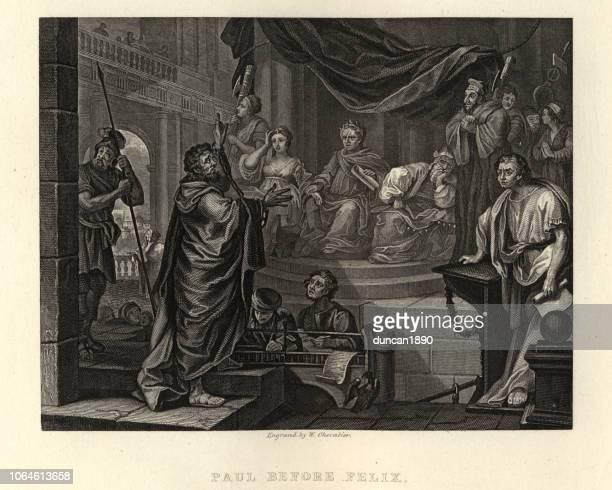 william hogarth's, saint paul before antonius felix - paul the apostle stock illustrations