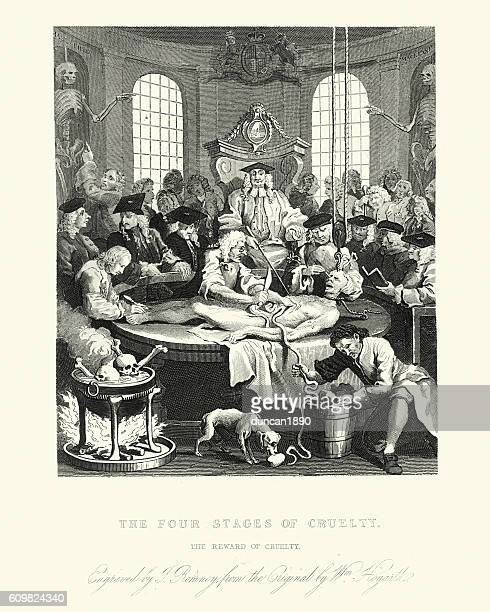 ilustraciones, imágenes clip art, dibujos animados e iconos de stock de william hogarth's the reward of cruelty - autopsy
