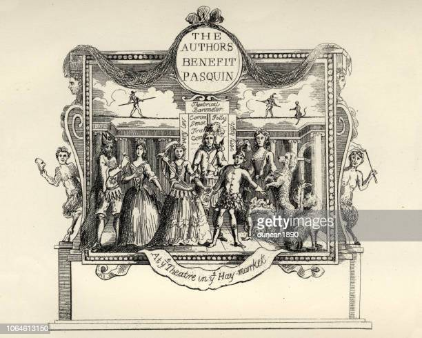 william hogarth's, ticket for the theatre in hay-market - theater industry stock illustrations, clip art, cartoons, & icons