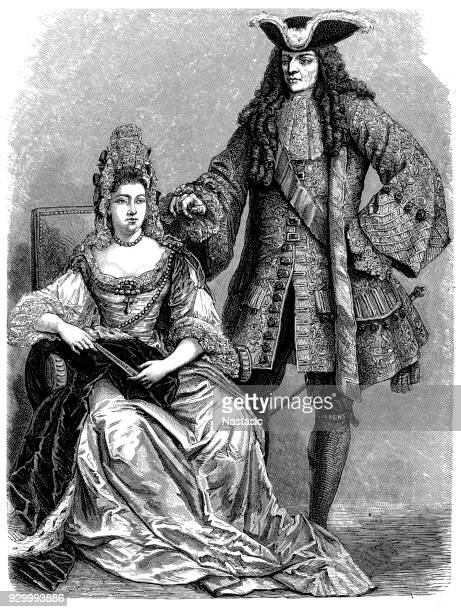 william iii and mary ii, king william iii and queen mary ii - heroin stock illustrations, clip art, cartoons, & icons