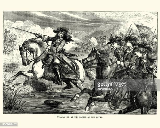 william iii at the battle of the boyne - cavalry stock illustrations
