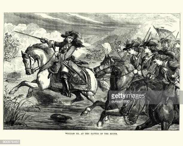 william iii at the battle of the boyne - cavalier cavalry stock illustrations, clip art, cartoons, & icons