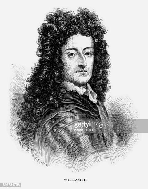 william iii, king william iii, english victorian engraving, 1887 - king royal person stock illustrations, clip art, cartoons, & icons