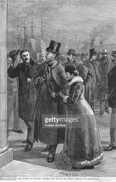 William O'Brien Irish nationalist politician and editor of the Land League newspaper 'United Ireland' is arrested on his arrival at Folkestone with...