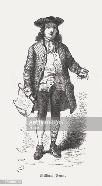 william penn (1644-1718), english colonial proprietor, wood engraving, published 1876 - quaker stock illustrations
