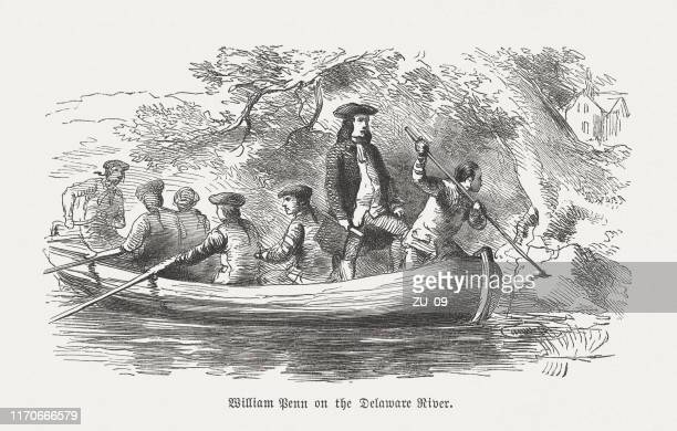 william penn on the delaware river (1682), woodcut, published 1876 - british culture stock illustrations
