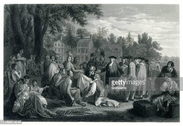 ilustrações, clipart, desenhos animados e ícones de tratado da paz de william penn em 1683 com indians de delaware - thomas jefferson