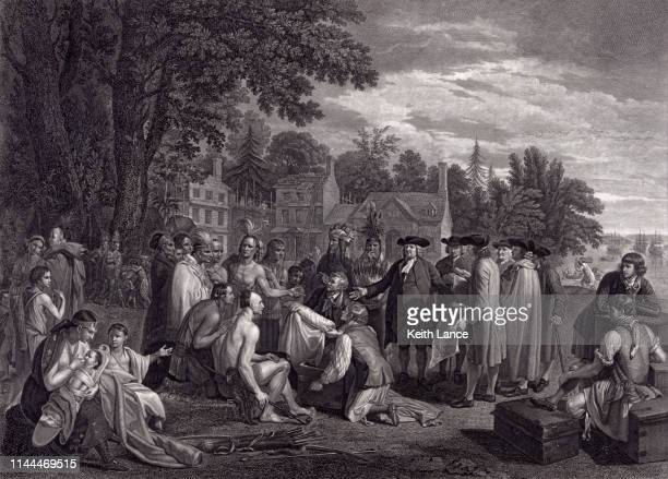 william penn's treaty with the indians, 1682 - protestantism stock illustrations