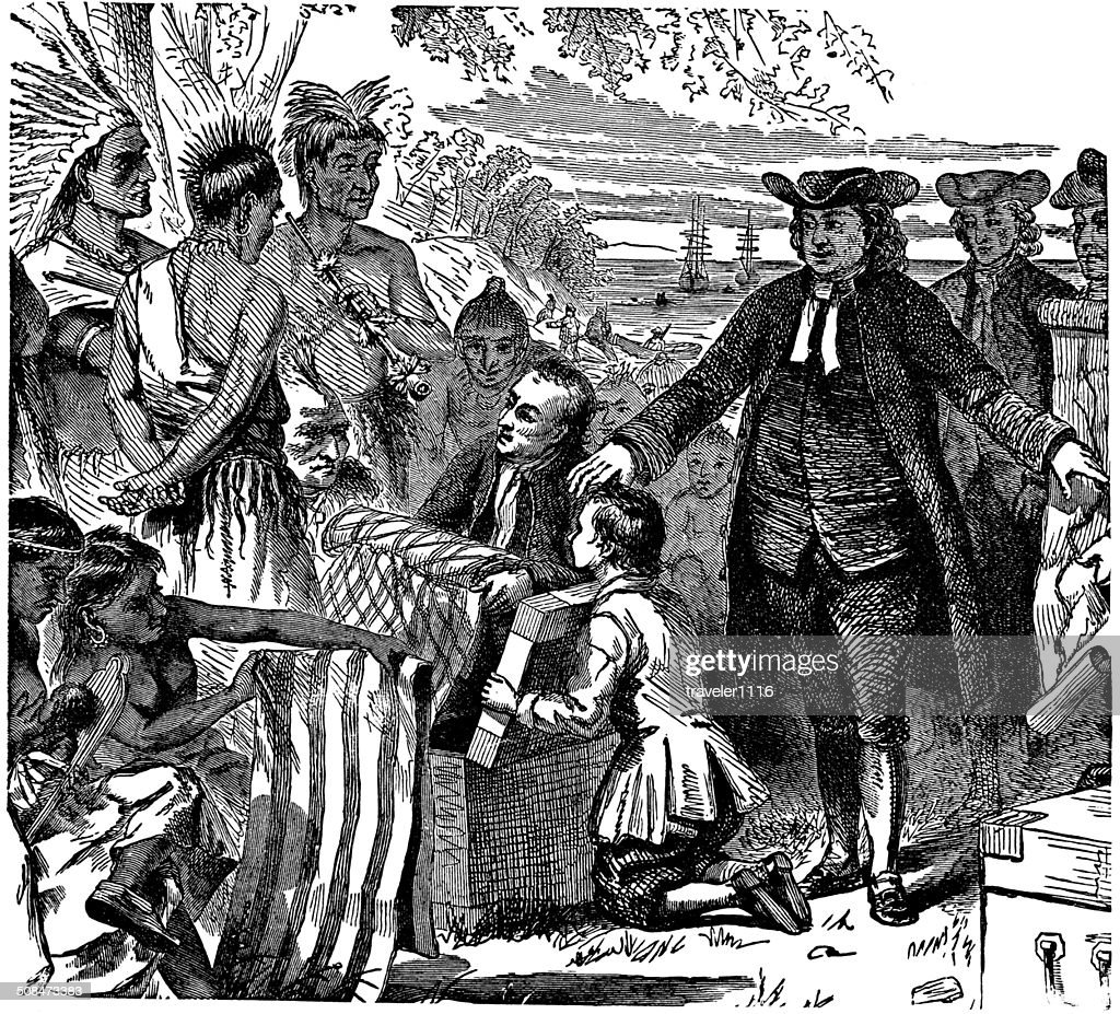 William Penn's Treaty With The Indians : stock illustration