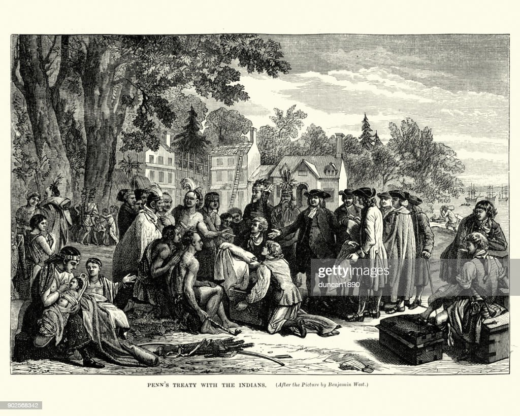 William Penn's treaty with the native americans : stock illustration