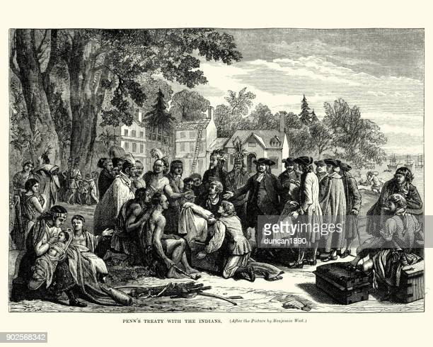 william penn's treaty with the native americans - indigenous north american culture stock illustrations, clip art, cartoons, & icons
