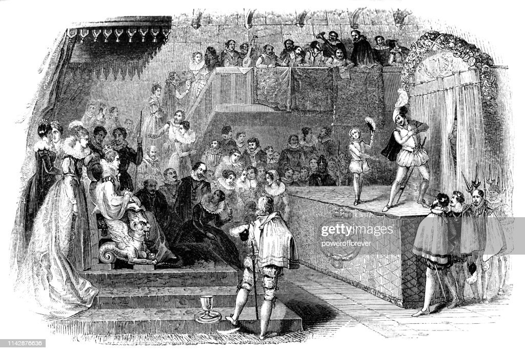 William Shakespeare and Lord Chamberlain's Men Performing for Queen Elizabeth I - 16th Century : stock illustration